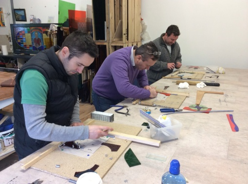 Hard at work making stained glass