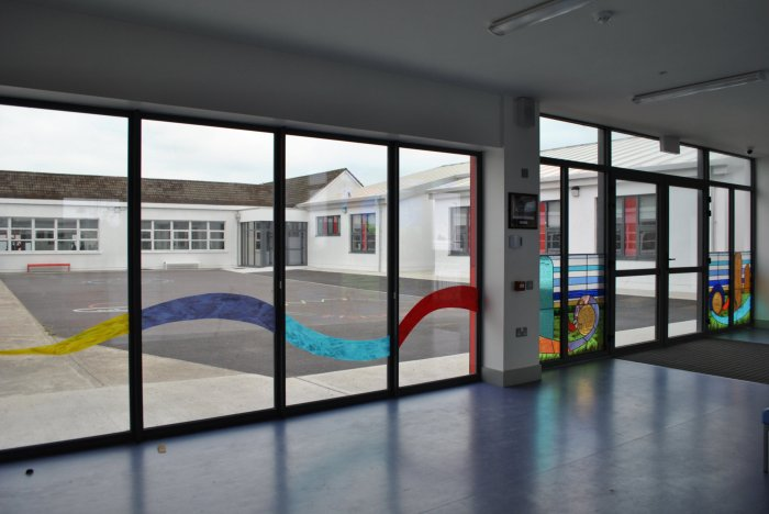 Courtyard view of Watergrasshill Stained glass