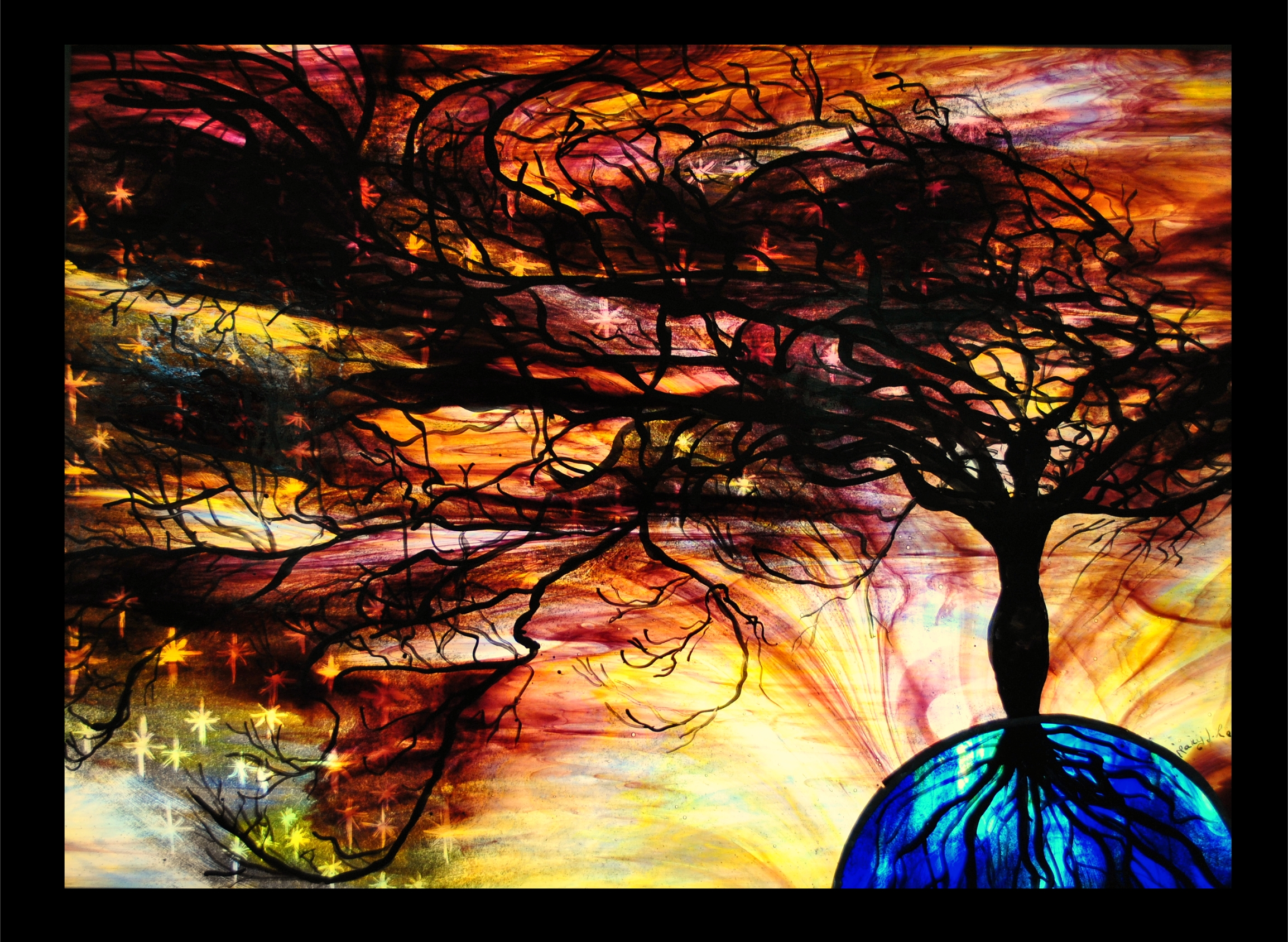 Tree of Life stained glass mary leen