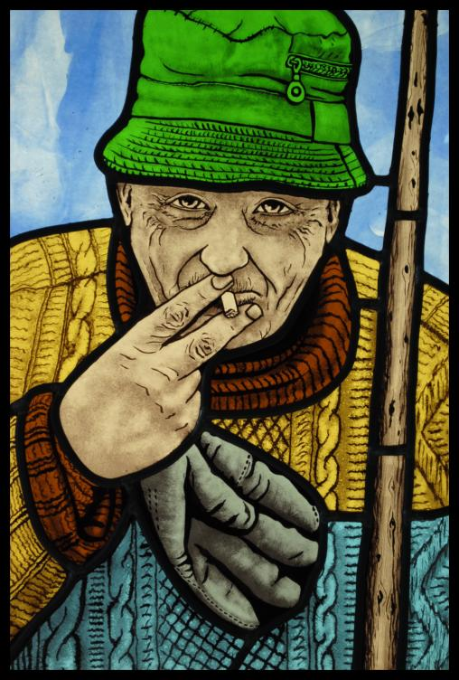 Stained Glass Portrait of old Man - 297 420 - €900