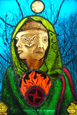 Saint Brigid - The Triple Goddess stained glass mary leen