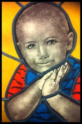 Stained Glass Portrait of Boy